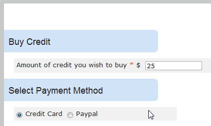 Enter desired credit amount