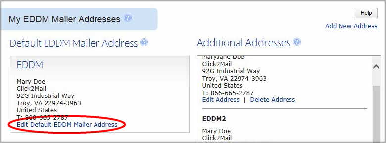EDDM Mailer Address Main View